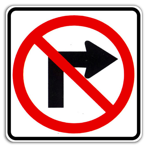 R3-1 No Right Turn Symbol Sign