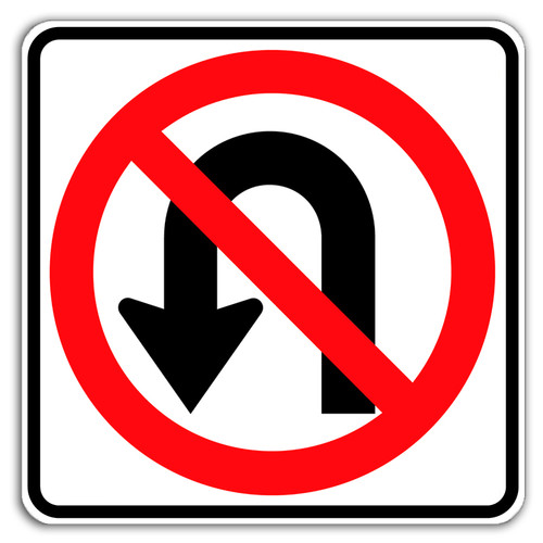 R3-4 No U-Turn Symbol Sign