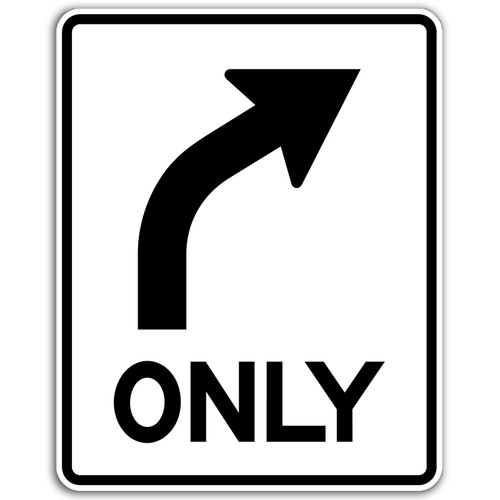 R3-5R Right Arrow Only Sign