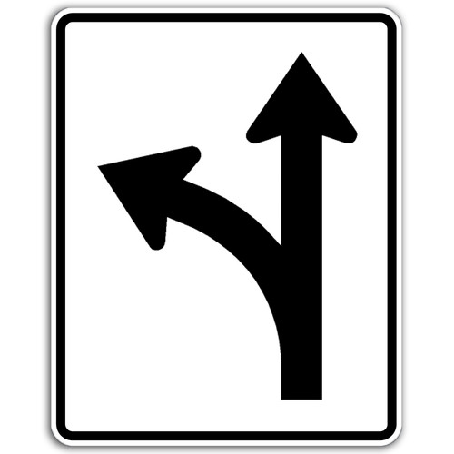 R3-6L Left/Thru Arrow Sign