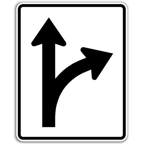R3-6R Thru/Right Arrow Only Sign