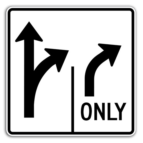 R3-8TRR Thru/Right Right Only Sign