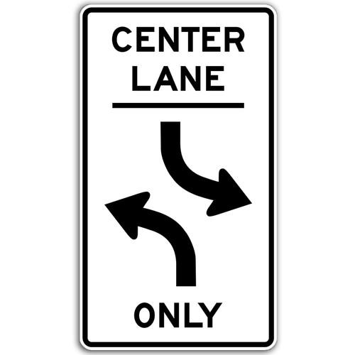 R3-9B Center Lane Left Turn Only Sign