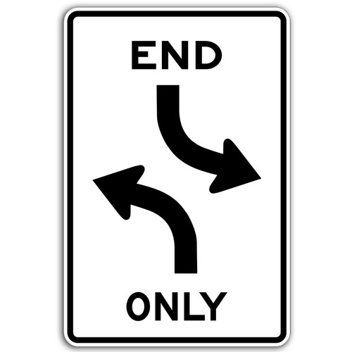 R3-9D End Only Center Arrows Sign