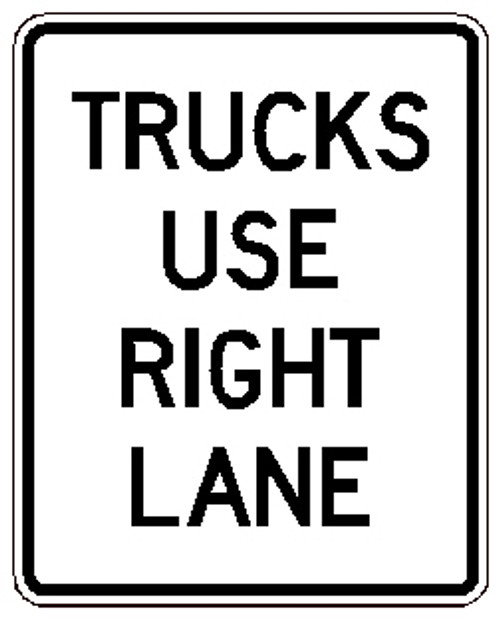 "Black and White ""Truck Use Right Lane Only"", 24"" x 30"", Reflective, High Intensity Prismatic"