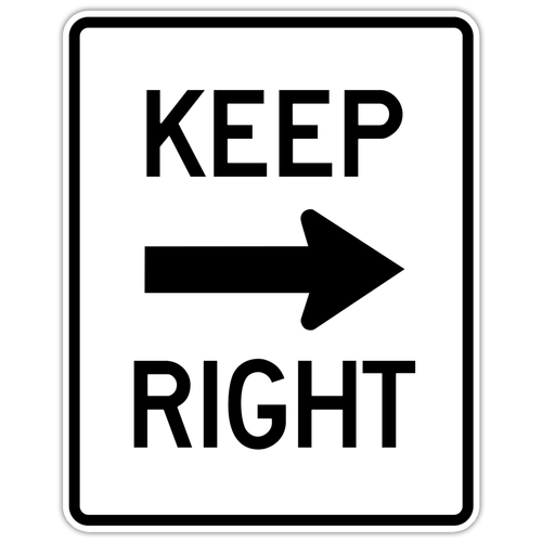 "Black and White ""Keep Right"" sign, 24"" x 30"", High Intensity Prismatic, Reflective, Arrow Pointing Right"