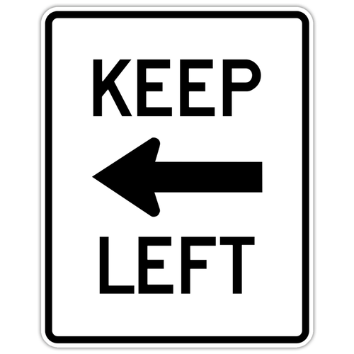"Black and White ""Keep Left"" 24"" x 30"", Reflective, High Intensity Prismatic, Arrow pointing to the Left"