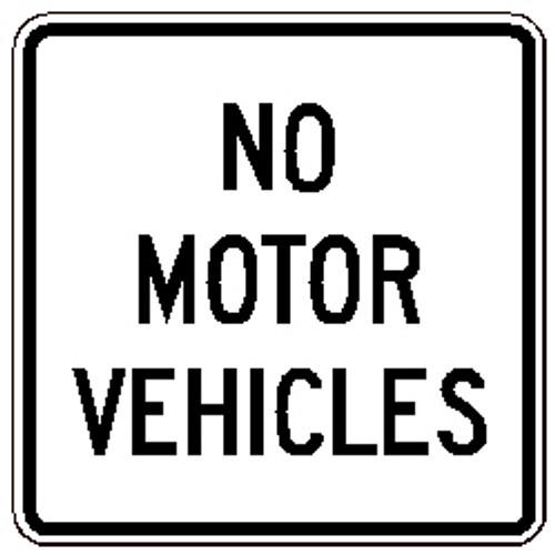 "Black and White ""No Motor Vehicles"" 24""x 24"", High Intensity Prismatic, Reflective"