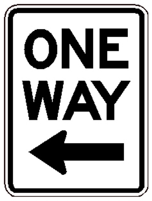 "Black and White ""One way"" sign, 18"" x 24"" High Intensity Prismatic, Reflective"