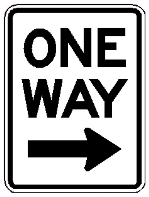 "Black and Right ""One Way"" sign, 18"" x  24"", Reflective, High Intensity Prismatic, Arrow Pointing Right"