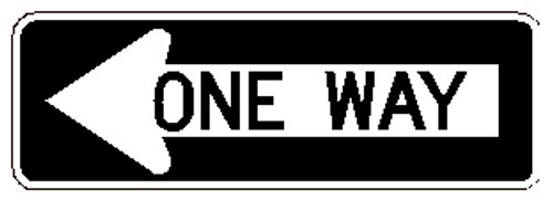 "One Way Left Sign R6-1L 36"" X 12"""