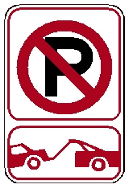 "red and white rectangular 3M High Intensity Prismatic 12x18 ""No parking tow away zone symbol"" sign"
