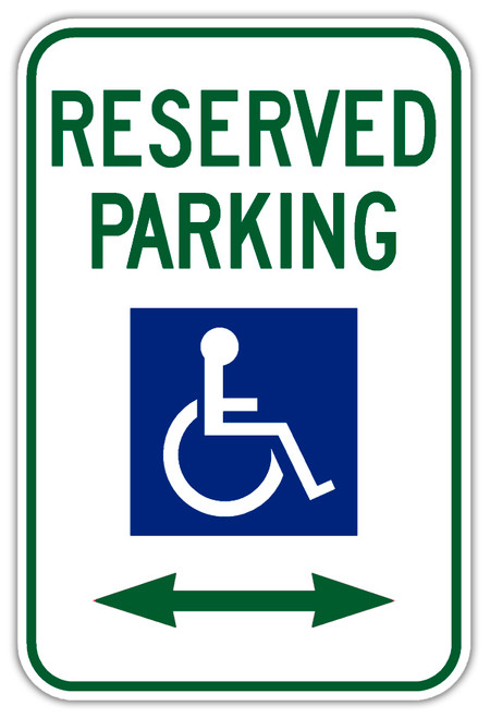 Handicap Parking Sign with Double Arrow