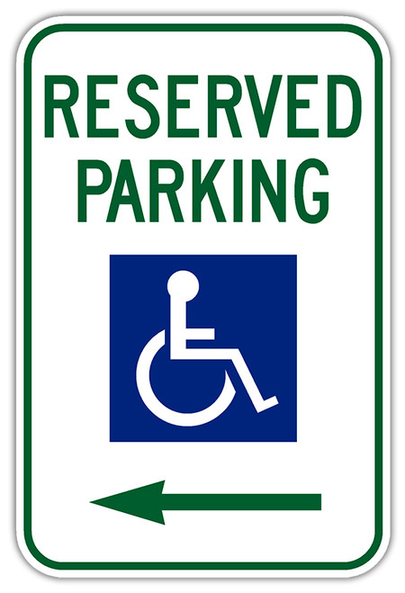 Handicap Parking Sign with Left Arrow
