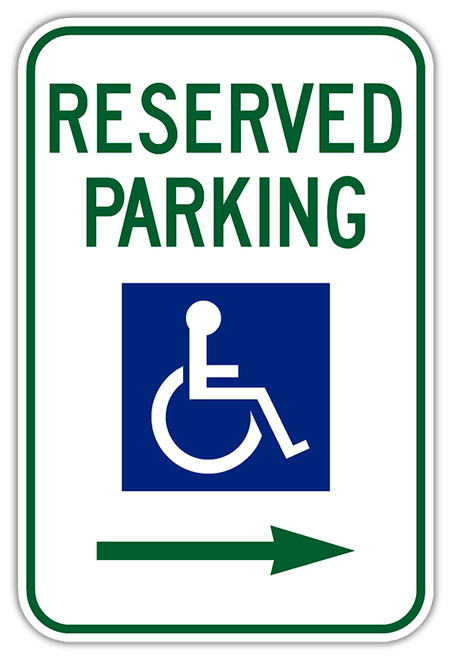 Handicap Parking Sign with Right Arrow