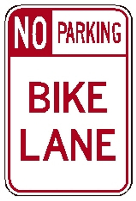 "red and white rectangular 3M High Intensity Prismatic 12x18 ""No Parking Lane"" sign"
