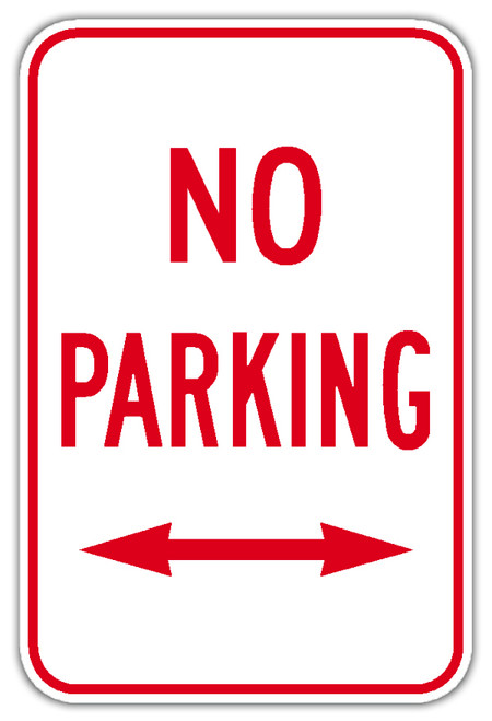 No Parking Sign with Double Arrow