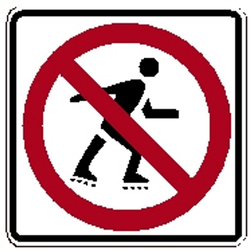 "Black Red White ""No Rollerblading Symbol"" Sign 18"" x 18"" High Intensity Prismatic"