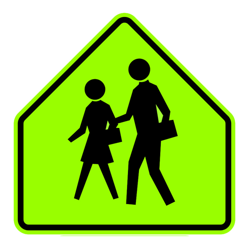 pentagon shaped, yellow and black sign features two pedestrians