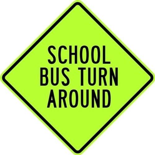 black and green diamond shape 3M High Intensity Prismatic 30x30 School Bus Turn Around