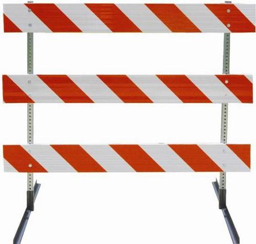 Type III Barricade with Angle Iron Feet.  Orange & White Striped Barricade boards.