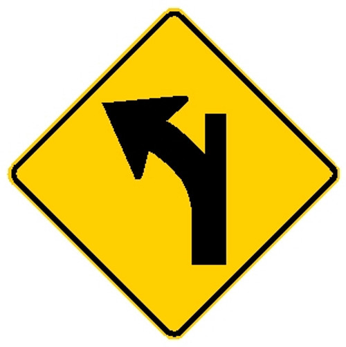 diamond shaped yellow and black sign, features a modified left turn arrow
