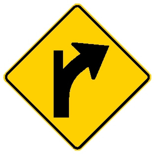 diamond shaped yellow and black sign, features a modified right turn arrow