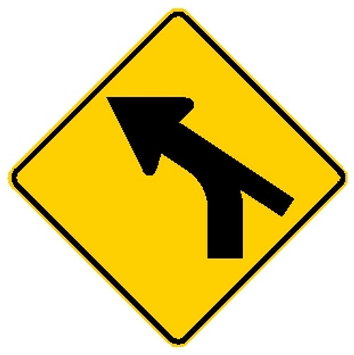 Diamond shape yellow and black sign with an arrow merging with a line