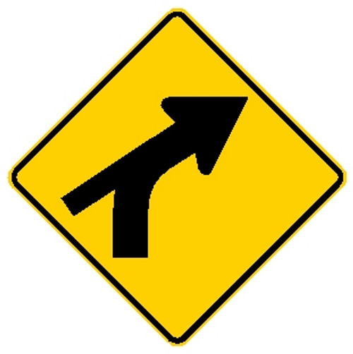 diamond shape, yellow and black sign with a bent arrow