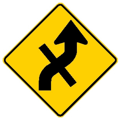diamond shape, yellow and black sign features an arrow with a line through it.