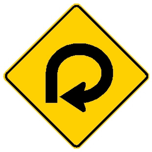 diamond shape, yellow and black sign, features an arrow