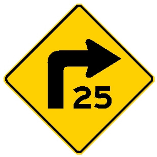 """diamond shape, yellow and black sign, features an arrow turning right and """"25"""""""