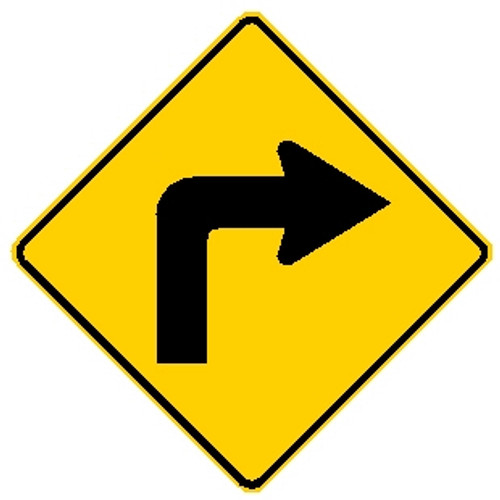 diamond shape, yellow and black sign, features an arrow turning right