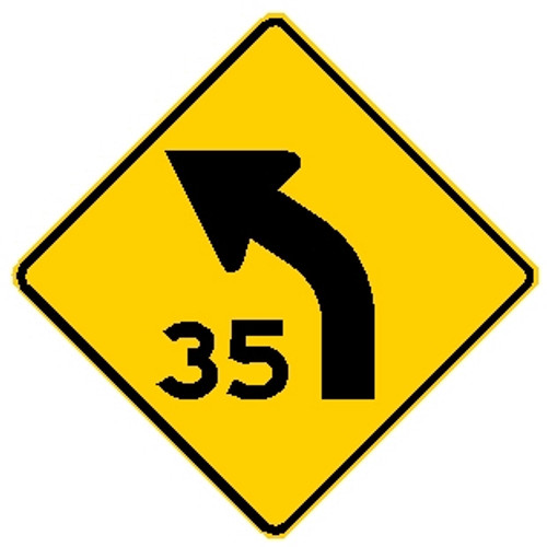 "diamond shape, yellow and black sign. features a leftward arrow with a ""35"""