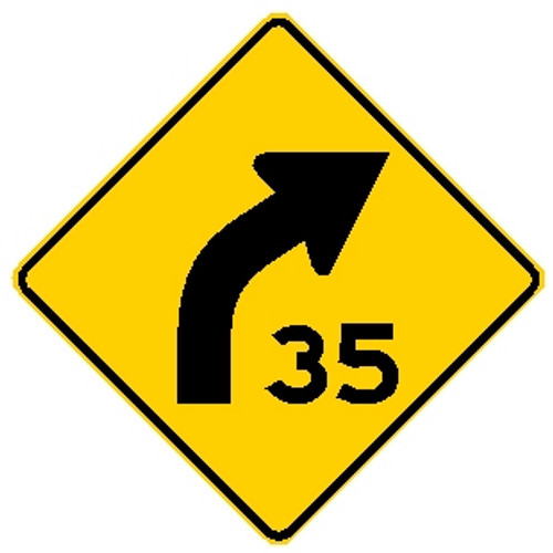 "diamond shape, yellow and black sign features a right bent arrow and a ""35"""