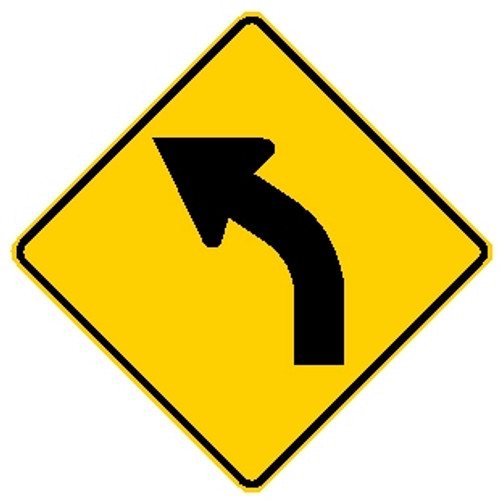 diamond shape, yellow and black sign. features a left turn arrow