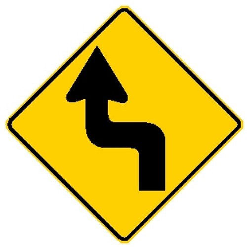 black and yellow diamond shaped sign showing a left reverse turn in road ahead
