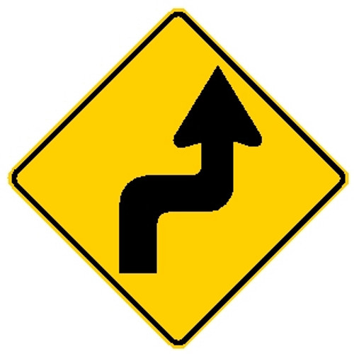 diamond shape, yellow and black, shows an arrow thats makes right turn to make a left