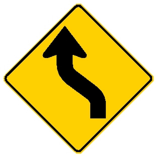 "black and yellow 30"" diamond shape left reverse curve warning sign"
