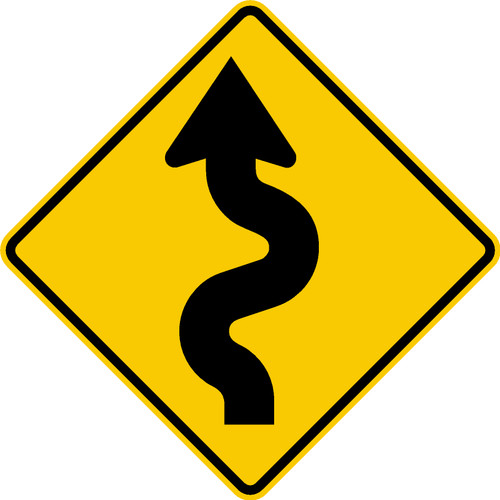 diamond shape, yellow and black, sign features an arrow winding to the left