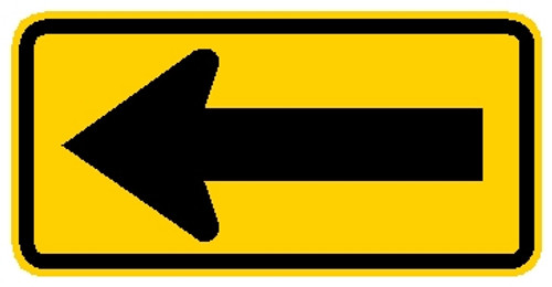 "48"" x 24"" black and yellow arrow sign"