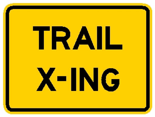 "rectangular, yellow sign, black words ""Trail X-ing"""
