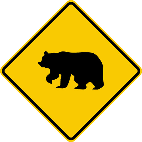 diamond shape, black and yellow sign, features a bear.