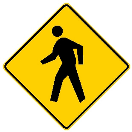 diamond shape, yellow and black sign, shows pedestrian