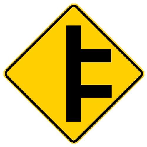 diamond shape, yellow and black sign.