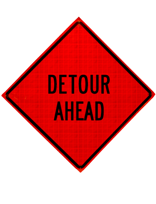 "diamond shape, orange and black sign, ""Detour Ahead"""