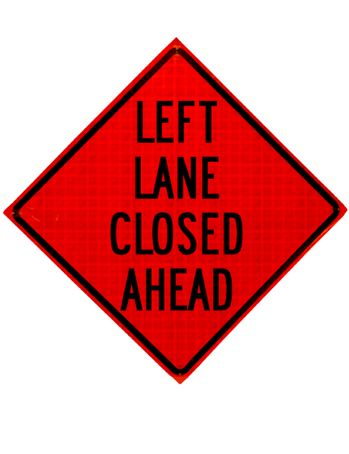 black and orange  left lane close ahead sign
