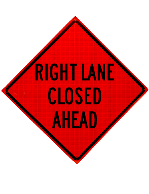 "Diamond Shape, orange and black sign ""Right lane closed"""