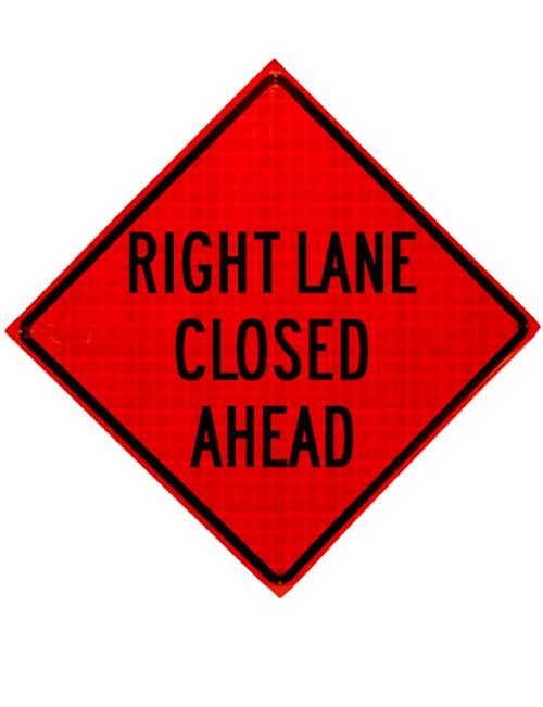 "Diamond Shape, orange and black sign ""Right lane closed"""