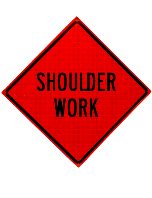 "Diamond Shape, orange and black sign ""Shoulder work"""